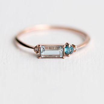 Aquamarine Balcony Ring in Solid 14k Rose Gold