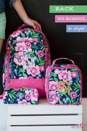 Check out these cute backpacks! Send them back to school in style. Monogrammed  backpack 5f79d1d5c1