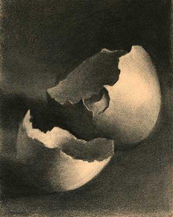 Charcoal Drawing of Eggs : trash art