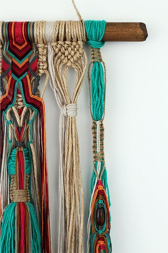 JIJIBO wall hanging unique boho macrame with beads and knots on natural jute and cotton FREE SHIPPING Australia