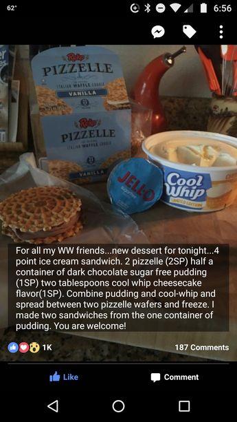 Weight Watchers ice cream sandwiches