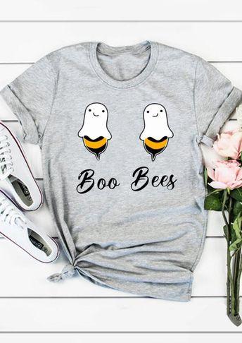 Halloween Boo Bees T-Shirt Tee - Gray