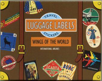 Vintage Travel Stickers for Suitcase Favor Box, Vintage Luggage Stickers, Scrapbook Stickers, Paris Londo New York Sydney Globe, Bon voyage
