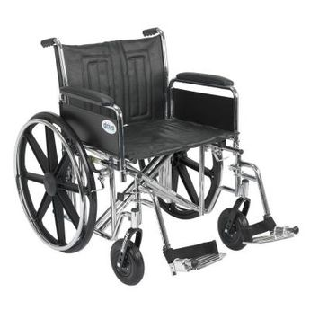 Drive Sentra EC Heavy Duty Wheelchair with Full Arms, Swing Away Footrest and 22 in. Seat