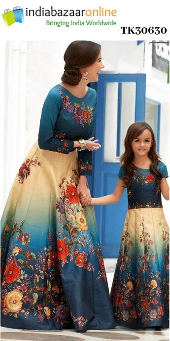 063bbc79fa Recent Pinterest dresses indian mother daughter Ideas. Blue And Cream Silk Mother  Daughter Combo Set TK30630