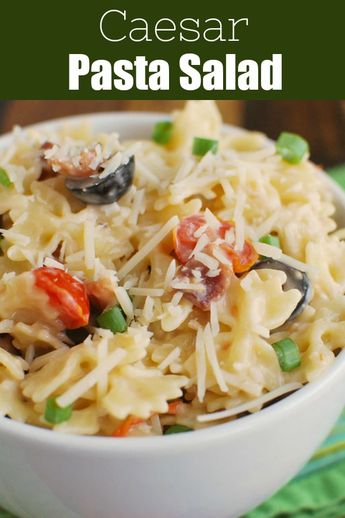 Caesar Pasta Salad – the perfect barbecue or potluck side dish! Pasta with bacon, tomatoes, olives, Parmesan cheese, and caeser dressing. It is really simple and comes together in less than 20 minutes!