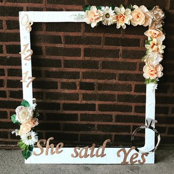 DIY bridal shower photo booth frame.