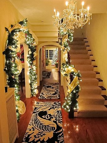 Pre-Lit Gold Deco Mesh Garland & Matching Wreath Pine Cones White Berries Christmas Garland Mantle Rustic Remote Control Lights With Timer