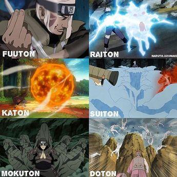 Futon Raiton Katon Suiton Mokuton Doton Naruto Shippuden Boruto