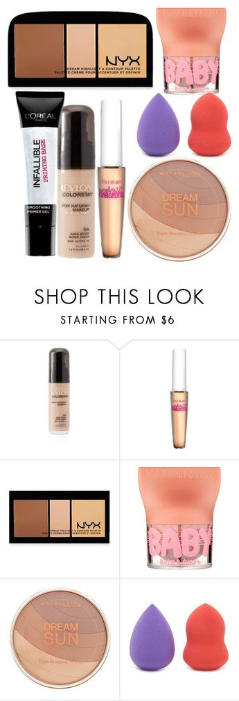 """""""Full #face #Drugstore/Pharmacy #Makeup"""" #by #mariahg9 #❤ #liked #on #Polyvore #featuring #beauty, #Revlon, #NYX, #L'Oréal #Paris, #Maybelline #and #Forever #21"""