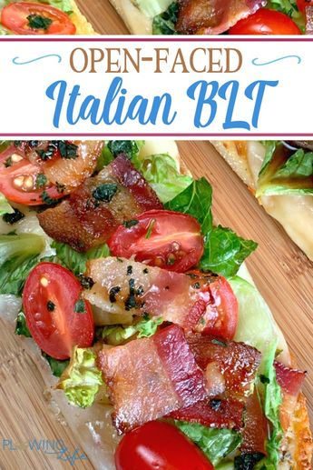 Open-Faced Italian BLT without mayonnaise will really hit the spot!  This easy spin on a BLT recipe is a perfect appetizer, party food or light lunch.  The combination of fresh vegetables, bacon, cheese and sweet glaze is amazing!
