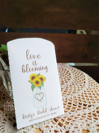 sunflower seed packet love is blooming bridal shower favors envelopes sunflower