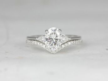 Rosados Box Petite Emery 8x6mm & Chevy 14kt White Gold Oval F1- Moissanite and Diamond Pear Wedding Set