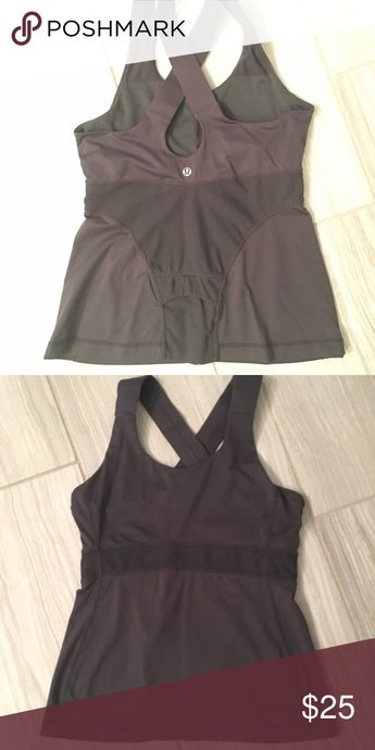 Lululemon gunmetal tank Size 6 EUC no rips or stains I can see Only worn a handful of times Large straps and can put cups in if need be lululemon athletica Tops Tank Tops