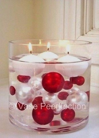 Details about 120 NO HOLE Red & White Pearls w/Matching Gems-Jumbo/Asrtd Sizes Vase Decoration