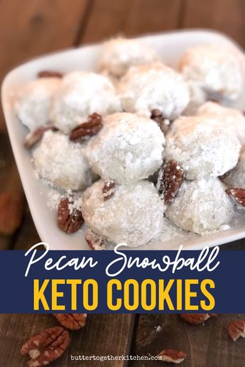These keto pecan snowball cookies come close to the real deal!! Make these holiday keto cookies this season! #ketosnowballs #ketocookies #ketopecansnowballcookies #snowballcookies #ketoholidaycookies | buttertogetherkitchen.com
