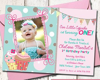 girl 1st birthday cupcake theme invitation with picture on