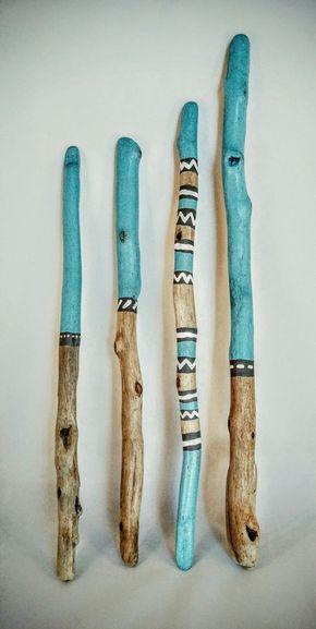 Painted Driftwood Sticks (Coastal Blues - Set 1)