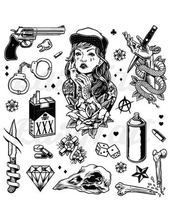Gangster Temporary Tattoos Thug Temporary Tattoos Gang Temporary Tattoos Gang Tattoos Fake Gangster