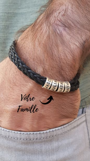 Bracelet homme tressé en cuir avec petites perles personnalisées en argent