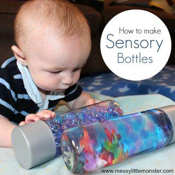 Making sensory bottles for babies - ocean in a bottle themed play