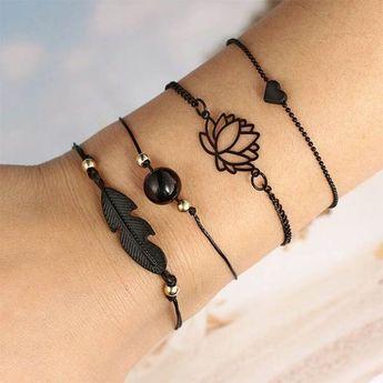 Fashion Style Lotus Leaf Bracelet Set 4pcs/Set  - #bracelet #fashion #lotus #style - #new