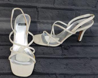 fb366ee4ce2 Details about Stuart Weitzman slingback Sandals party Womens Size 6.5 M  strappy Beige Satin