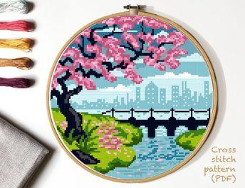 Landscape Modern Cross Stitch Pattern, flower tree cross stitch , city, river, nature cross stitch, hoop art, embroidery, instant PDF