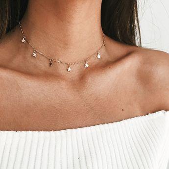 Boho Chocker Chain Tassel Star Necklace Gargantilha collier femme