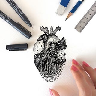 Inktober day 9 (Precious), a few of the things I consider precious are all hearts, family and love 😊. • • • Paper: @fabriano1264 (Coldpress Watercolor paper 140lb) Pens: @peter_pauper_press (Black Micron 01/03)