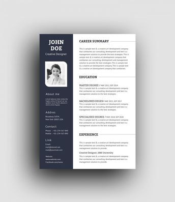 PSD Elegant Professional Resume Template 001457 - Template Catalog