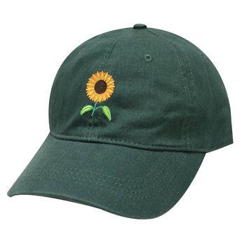 Capsule Design Sun Flower Cotton Dad Baseball Cap Hunter Green 5d09f84cc374