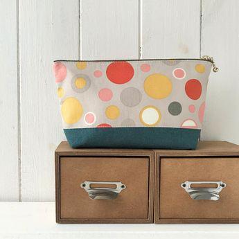 Polka Dot Make Up Bag, Green Cosmetic Bag, Grey Makeup Bag, Large Toiletry Bag, Retro Makeup Bag, Po