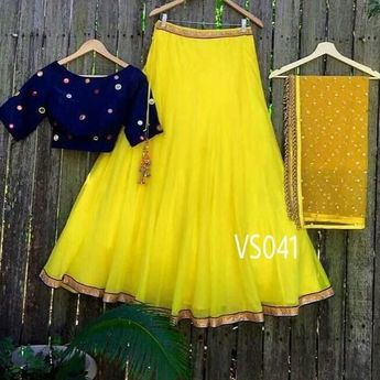662361487f Yellow and blue designer lehenga choli Product Info : Tafta silk semi  stitch Lengha up to