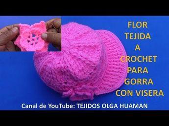 Flor tejida a crochet fácil y rápido de tejer para gorra con visera - YouTube