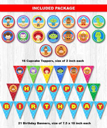 TOY STORY Birthday Decoration Toy Story Decorations Printable Children Kids Party Pack