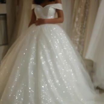 Bling Bling Wedding Dresses Sequins Off Shoulder Ball Gowns – alinanova