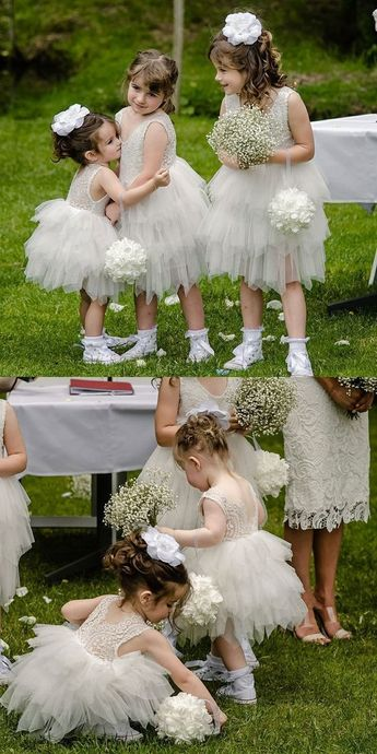 Boho Prom Dresses, Ball Gown Round Neck Grey Tiered Flower Girl Dress with Lace OHbridal