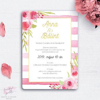 e9f6ed7439 Akvarell Rózsás Csíkos Esküvői Meghívó - Esküvői Meghívó, Alkalmi és  Családi Grafika Webáruház