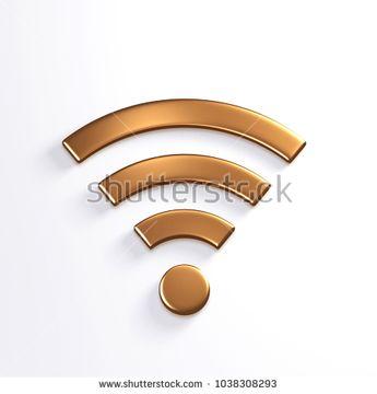 Bronze WiFi Wireless Symbol. 3D Render Illustration