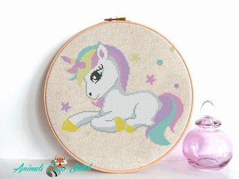 Unicorn Cross stitch pattern baby Animal cross stitch Colorful cross stitch Nursery modern decor Horse embroidery DIY birthday PDF