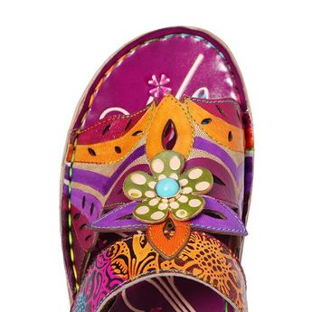 Hand Flowers Painted Genuine Leather Sandals Slippers