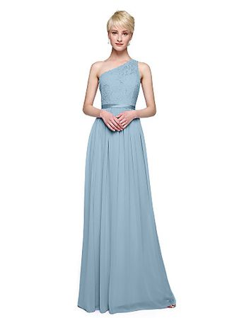 50d4fe1cc8 [$99.99] Sheath / Column One Shoulder Floor Length Chiffon / Lace Bodice Bridesmaid  Dress