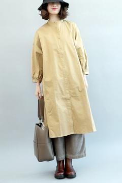 5611488195ad3a FantasyLinen Bishop Sleeve Loose Shirt Dress, Stand Collar Winter Long Shirt  For Women Q4010