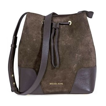 969f10aa26c8 Michael Kors Cary Medium Suede and Leather Bucket Bag - Coffee  fashion   clothing