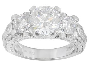 Charles Winston For Bella Luce (R) 5.50ctw Rhodium Plated Sterling Silver Ring