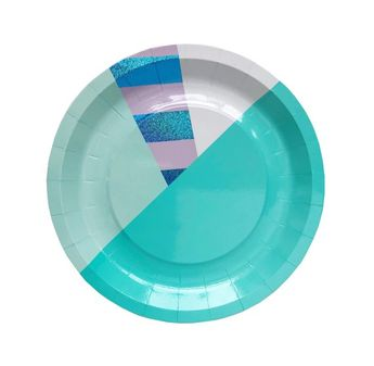 Unicorn Mystic Stripe Small Paper Plates - mermaid blue lavender mint sparkly holographic iridescent