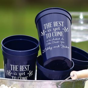 22 Oz. Engagement Party Stadium Cups Personalized