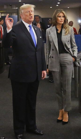 Melania Trump wears a gray suit to UN General Assembly