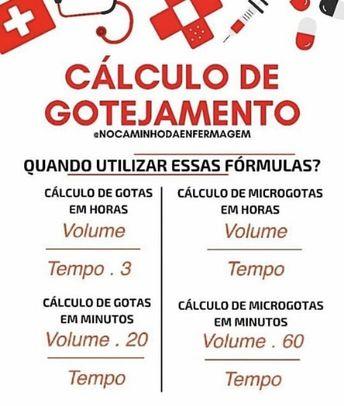 Caiu na prova prática da CLDF a fórmula de gotejamento em microgotas. Vc precisa decorar! Cálculo de medicação está em todas as provas.…